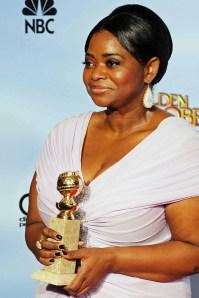Octavia Spencer met haar Golden Globe voor The Help